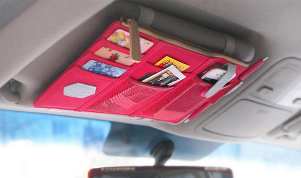 康乐屋 新款车内遮阳板收纳挂包 车用挂袋多功能证件收纳包