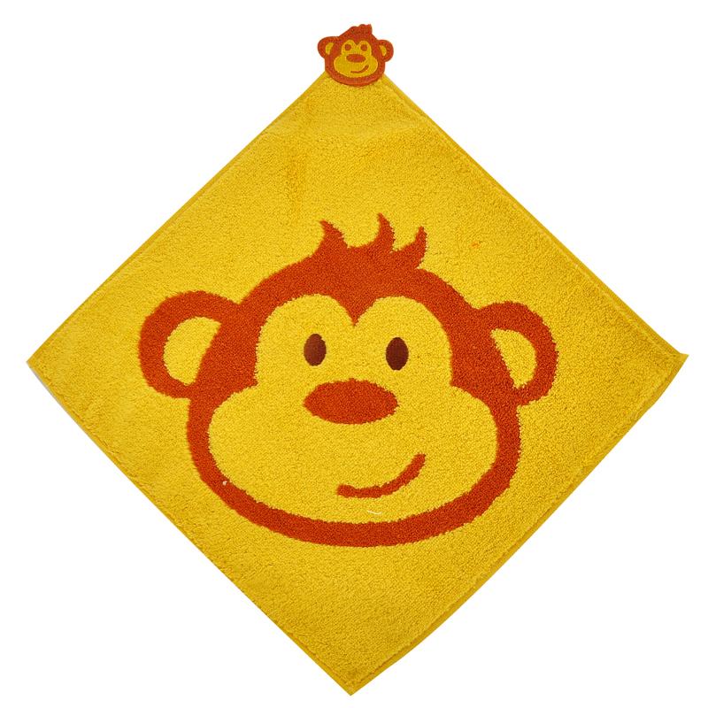 京冠(JINGGUAN)纯棉提花挂绳方巾两件装 口水巾 擦手巾 厨房巾 121-14黄色顽皮猴