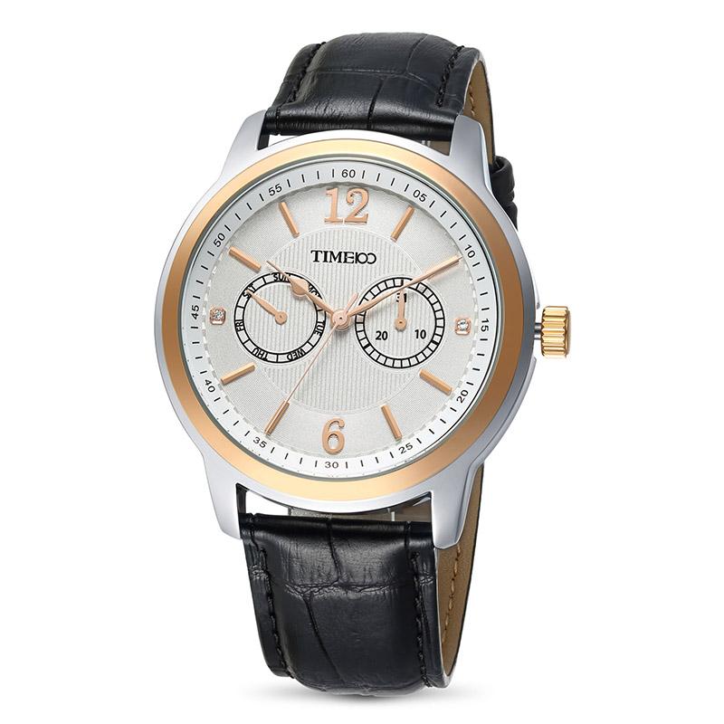 時光一百/Time100 休閑商務男士手表表雙小盤皮帶石英表時尚男表W70153G