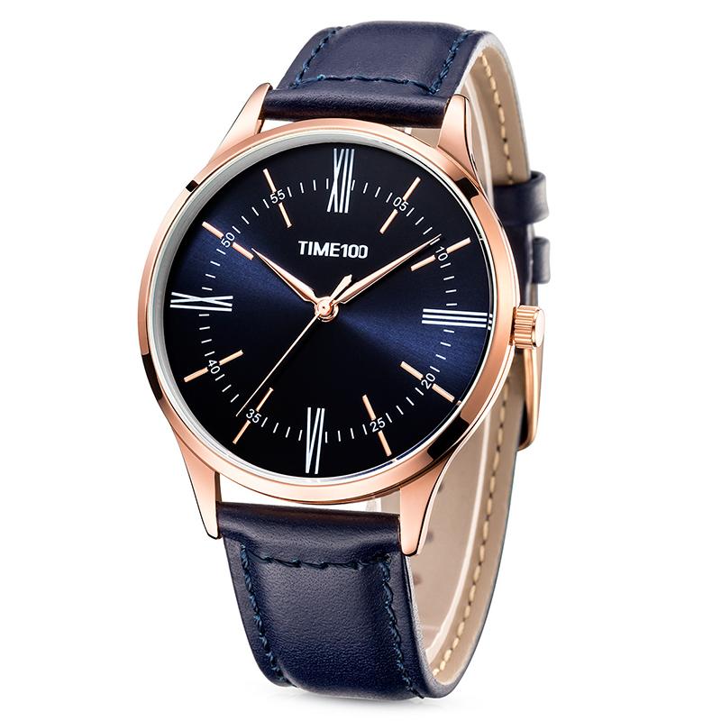 时光一百/time100手表罗马数字韩版时尚薄款皮带非机械石英男士手表腕表W80226G