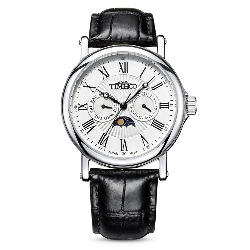 時光一百/Time100手表男表時尚休閑潮羅馬刻度日相男士手表腕表W80035G