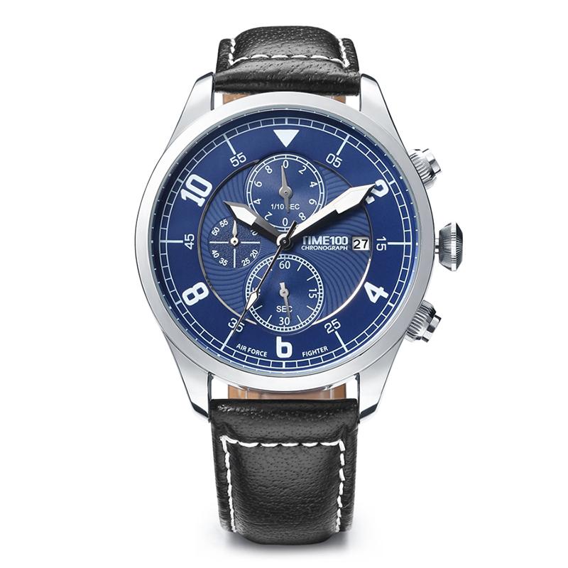 時光一百/Time100手表韓版時尚潮多功能真皮石英男士手表腕表 W80092G