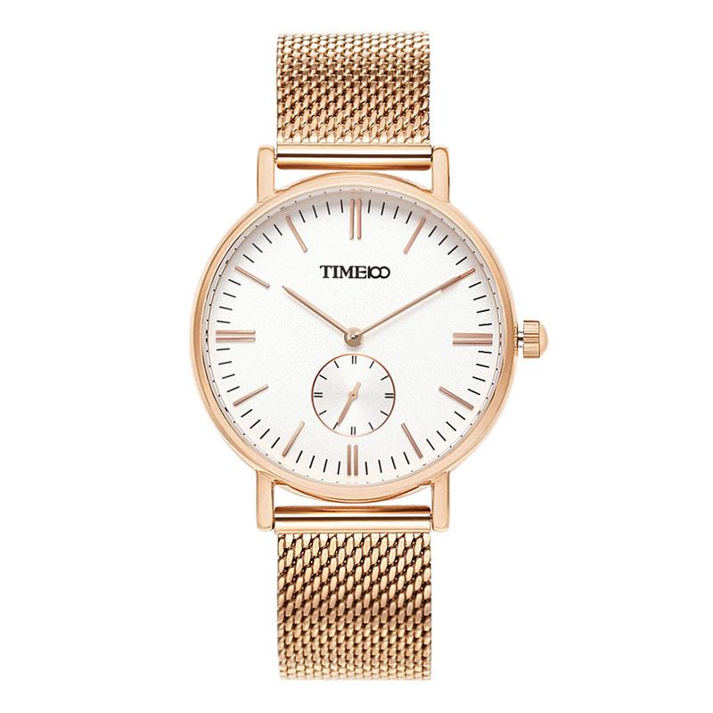 時光一百/time100手表女時尚簡約女士手表小三針鋼網帶圓盤防水石英女表腕表W80189L