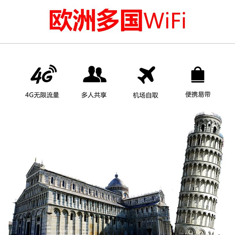 游伴伴 欧洲多国4G无限流量wifi 单日包