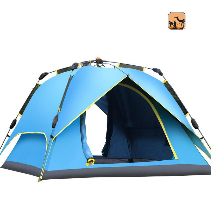沙漠駱駝戶外 3-4人多人加高加大全自動帳篷 野外野營露營雙人雙層牛津布帳篷套餐防暴雨 CSR02