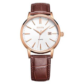 飞亚达(FIYTA)手表 经典系列石英情侣表男士手表白盘皮带TG802002.PWR
