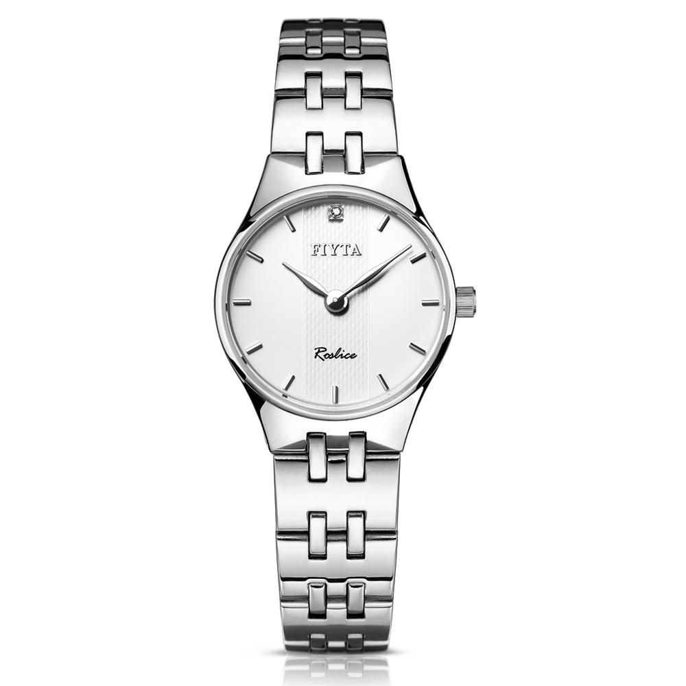 飞亚达(FIYTA)手表 卓雅系列石英情侣表女表白盘钢带L246.WWWD