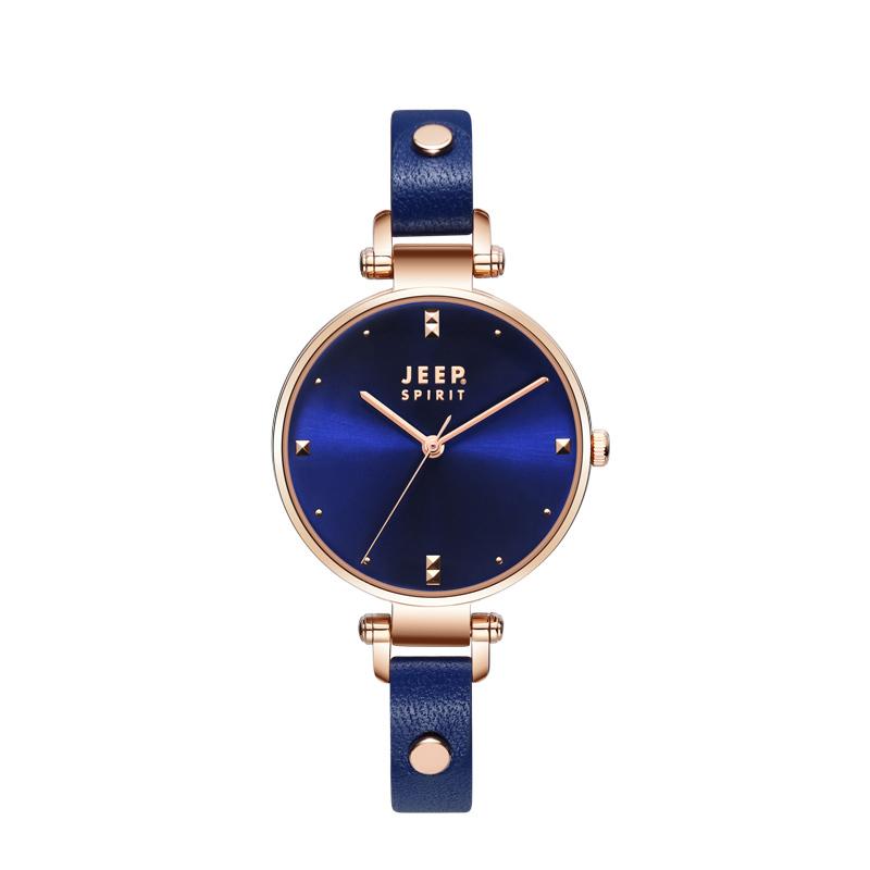 吉普(JEEP)夏季新款手表SPIRIT森系?#20449;?#29983;个性铆钉牛皮表带腕表JPS400101-5W