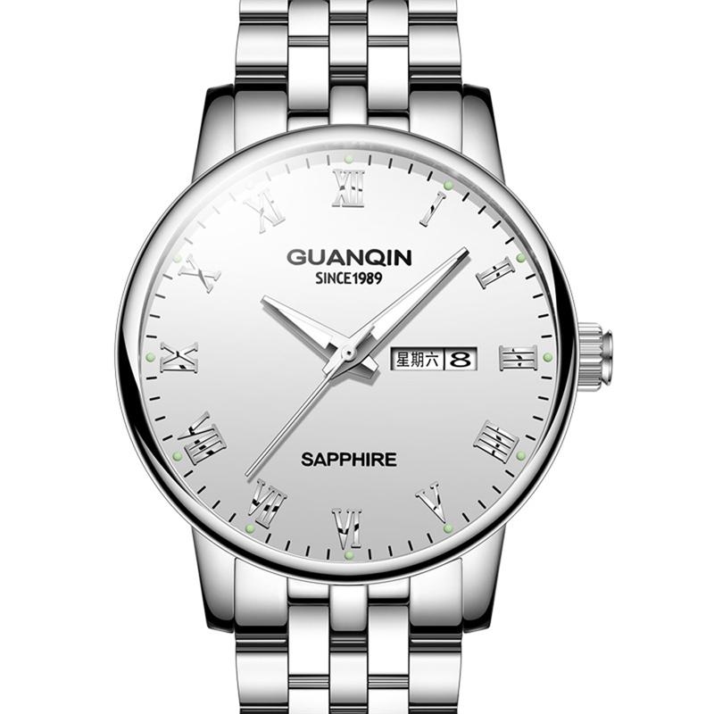 冠琴(GUANQIN)防水夜光石英表鋼帶時尚潮流男士手表GS19131