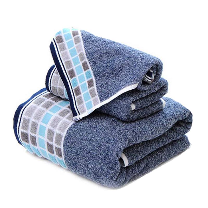 永亮英倫幾何純棉方巾毛巾浴巾3件套