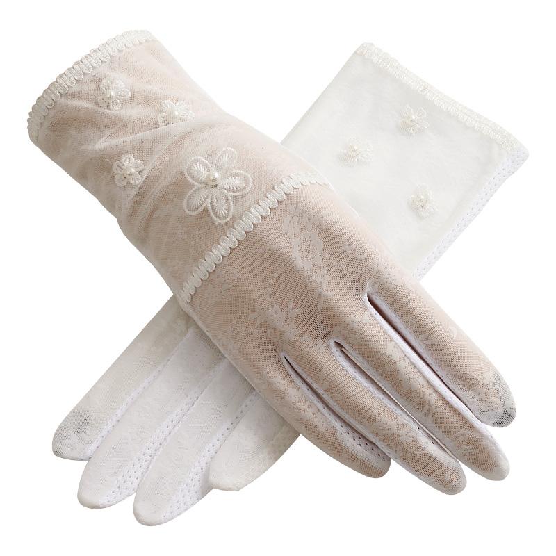 圣苏萨娜夏季防晒短款冰丝遮阳薄透气防晒手套均码