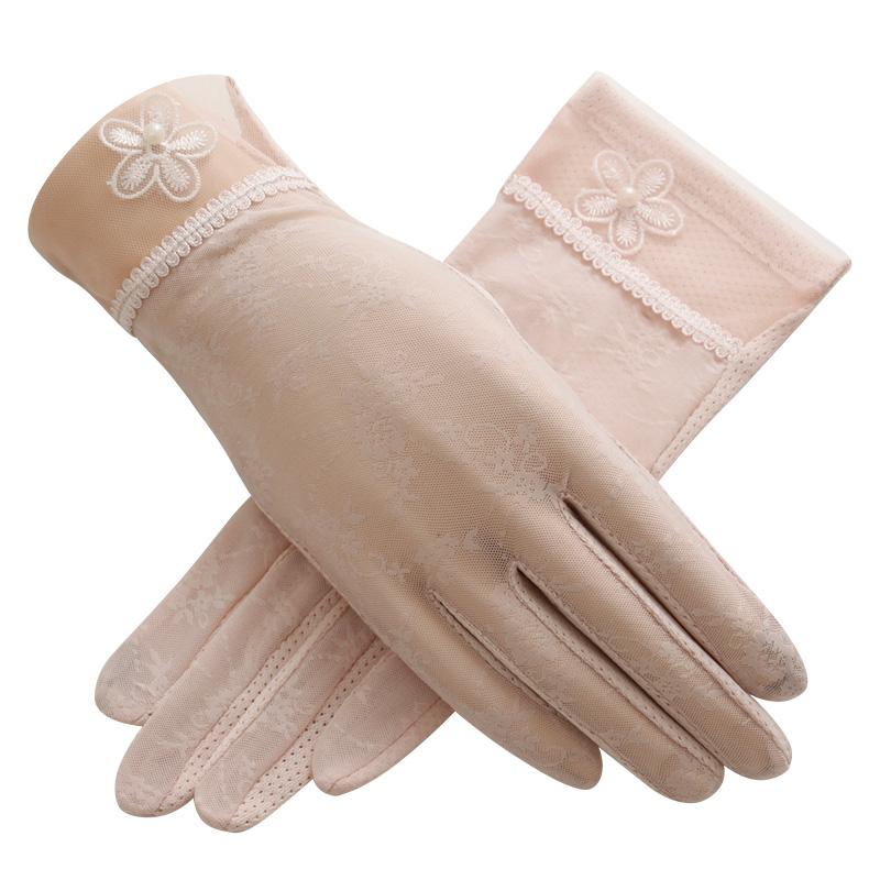 圣苏萨娜夏季防晒薄短款防滑透气蕾丝触屏手套均码