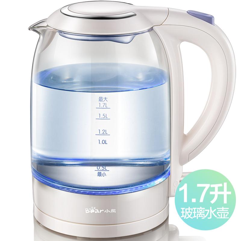 小熊(Bear)玻璃电热水壶 1.7升高硼硅玻璃电水壶  ZDH-A17L1  透明色
