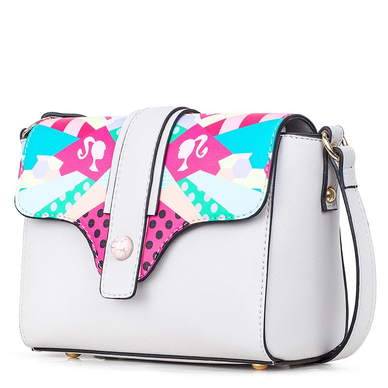芭比/Barbie 斜挎包包女单肩包绘画系列彩绘印花撞色搭扣BBFB510