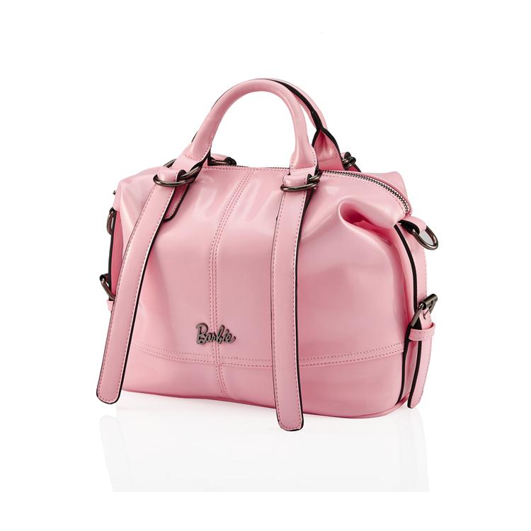 芭比/Barbie 斜挎包包女单肩包手提包典雅系列时尚拼接亮皮BBFB218