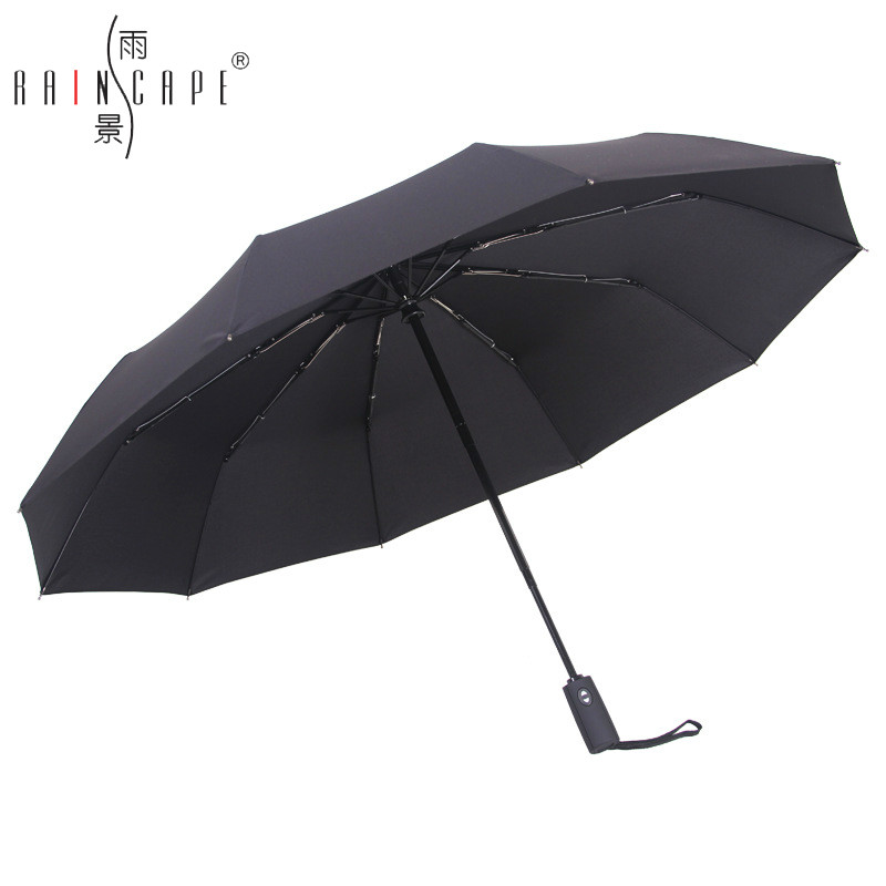 雨景/rainscape 男士全自動商務雨傘 十骨全自動晴雨傘 折疊商務傘 兩用雙人超大加固防風三折傘