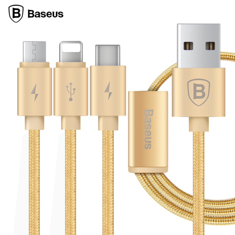倍思(Baseus)三合一数据线 多功能充电线 苹果+安卓+type-c三接口 1.2米