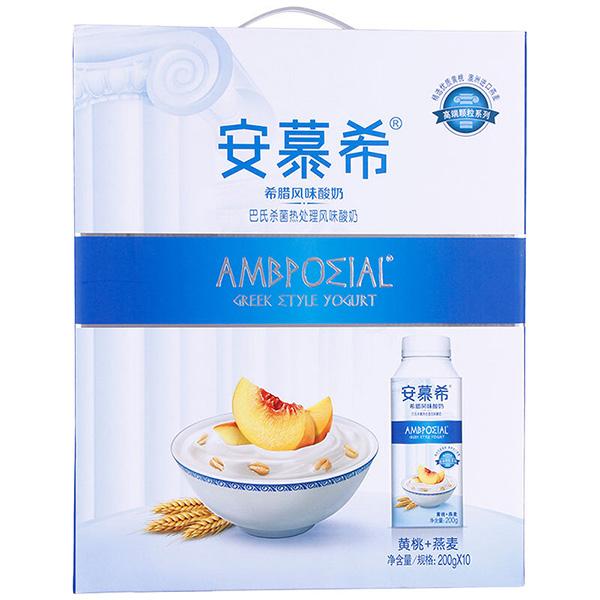 伊利安慕希希臘風味酸奶 高端顆粒系列 黃桃+燕麥200g*10盒