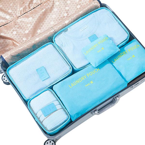 宜戀家紡 旅行收納袋套裝旅游需備行李箱整理包衣物分裝袋衣物收納袋六件套裝 三種顏色隨機發