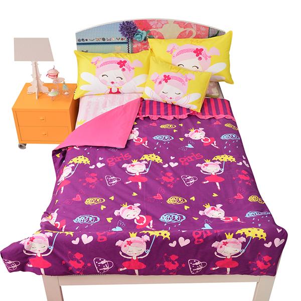 宜恋家纺 儿童全棉四件套床上用品床品套件床单被套枕套  芭蕾女孩 1.35-1.5米床