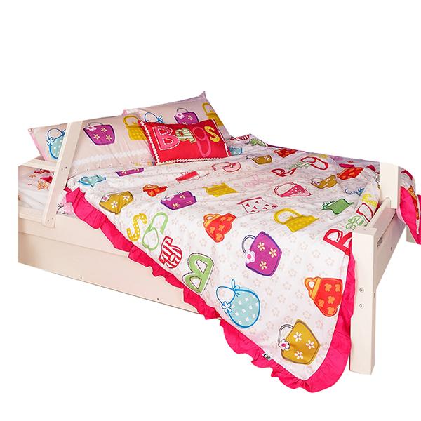 宜恋家纺 儿童全棉四件套床上用品床品套件床单被套枕套  美丽包包 1.35-1.5米床