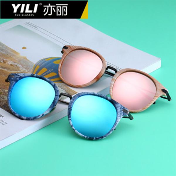 亦丽(YILI)金属偏光太阳镜眼镜 欧美时尚女士百搭炫彩墨镜  9935