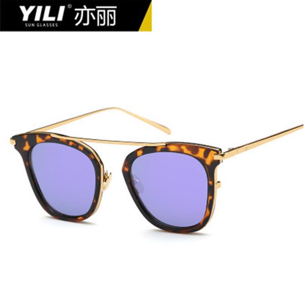 YILI  中性风格太阳镜时尚金属炫彩墨镜男女通用眼镜  8817
