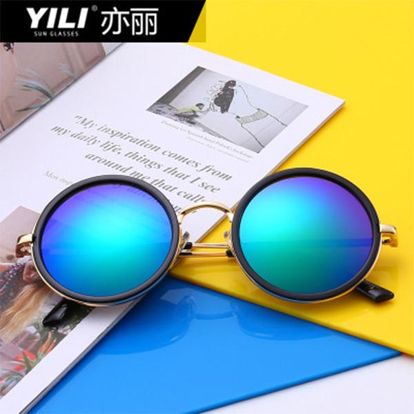YILI  金属潮流圆框太阳镜 时尚炫彩男女同款墨镜眼镜  3428