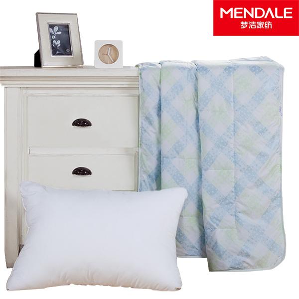 梦洁 被子枕芯套装 舒适柔软 贴身透气 简约大气 素色花纹 被子 被芯 枕头 枕芯