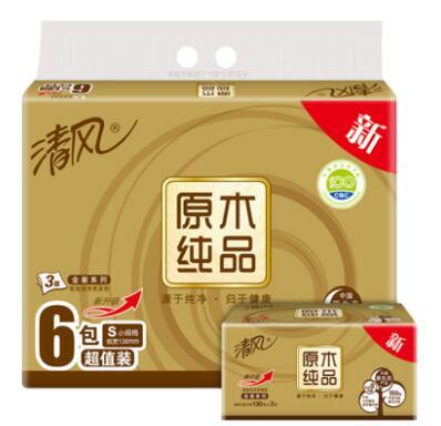 清風 抽紙 原木純品金裝系列 3層130抽紙巾*6包