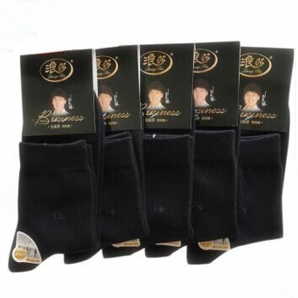 浪莎  男士經典吸汗防臭 精梳棉商務男襪薄款 5雙 黑色 M888-2