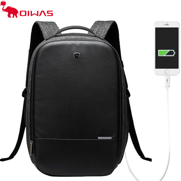 愛華仕(OIWAS)  2018全新上市輯盜者系列商務防盜背包 USB充電接口 男女電腦包雙肩時尚背包 可擴展隔層 可背插拉桿箱4338