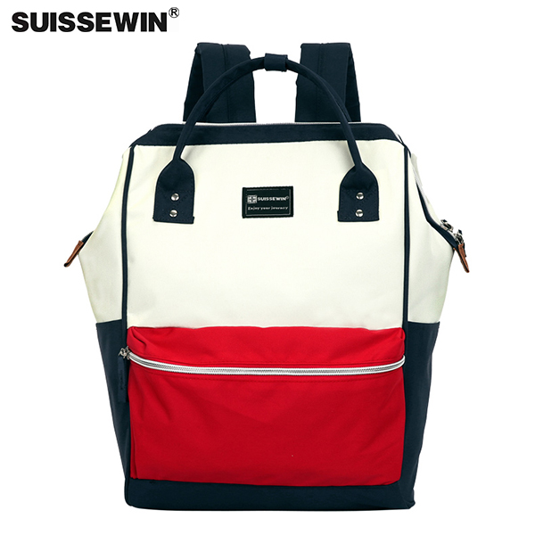 SUISSEWIN 新款大容量雙肩包電腦包學生書包 日韓女手提兩用旅行包情侶背包17117
