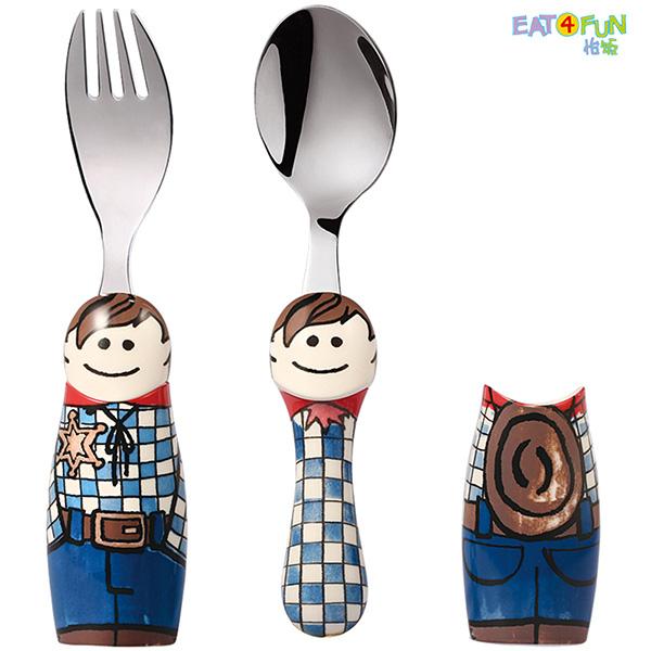怡饭 儿童卡通餐具-牛仔男孩  餐叉 餐勺 套装-EAT-E003