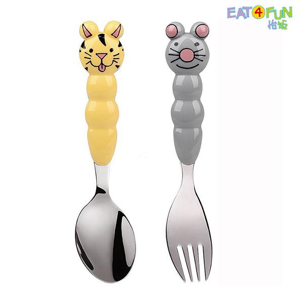 怡饭 儿童餐具 动物 餐叉 餐勺 两件套 (鼠宝+猫咪)-EAT-A013