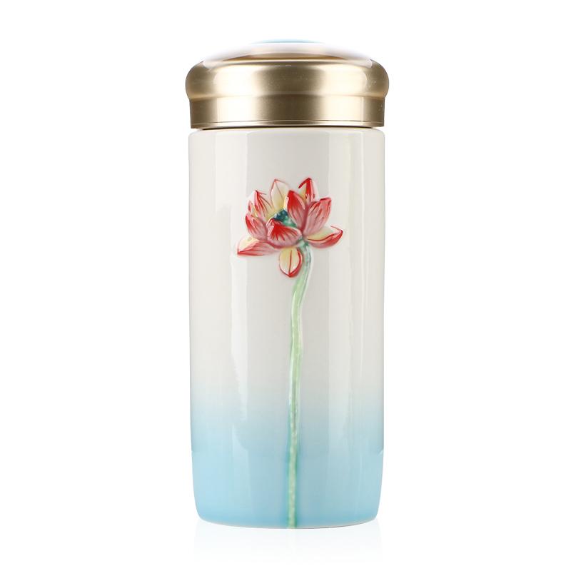 乾唐轩活瓷杯清心福莲随身杯便携带盖陶瓷办公水杯子