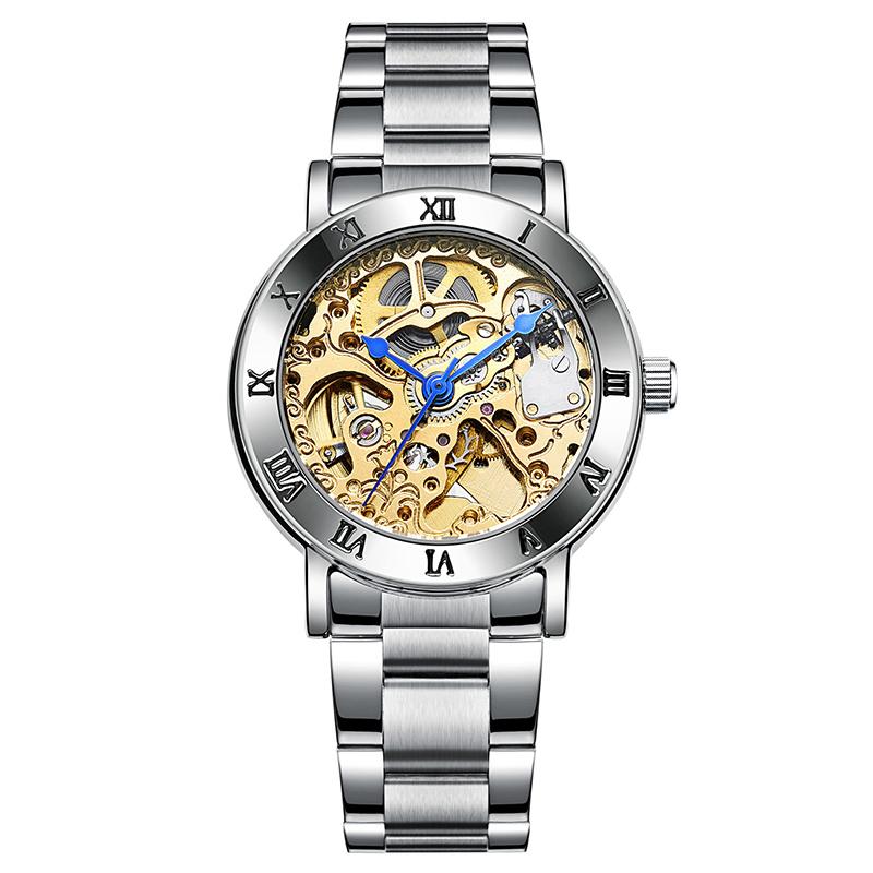 阿帕琦 全自動機械手表女 鏤空鋼帶腕表 韓版防水時尚百搭女手表