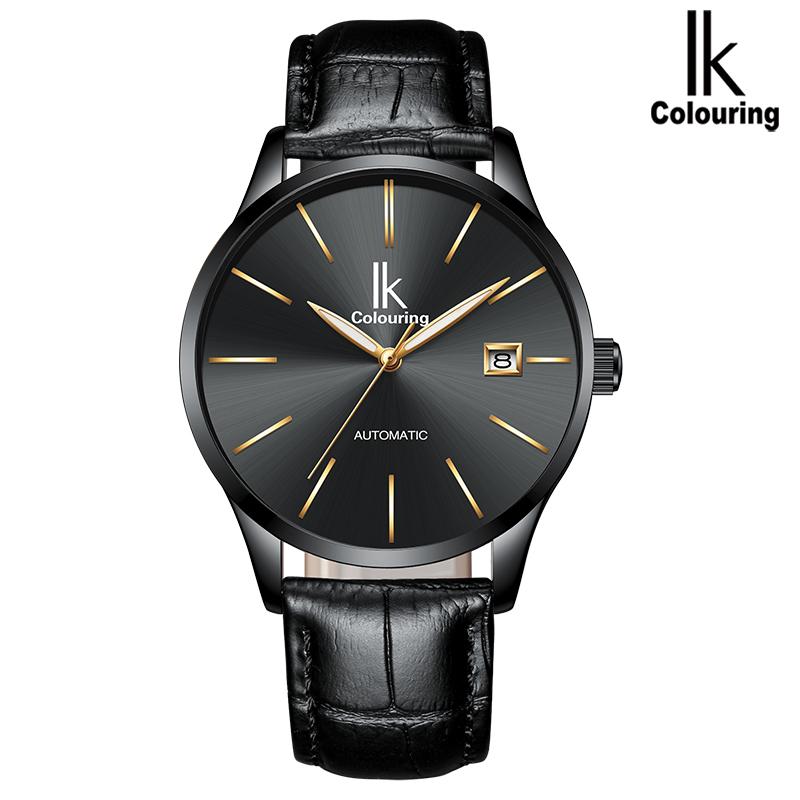 阿帕琦IK男士機械表防水超薄簡約全自動商務手表(白殼白/藍/黑面 黑皮帶)k006