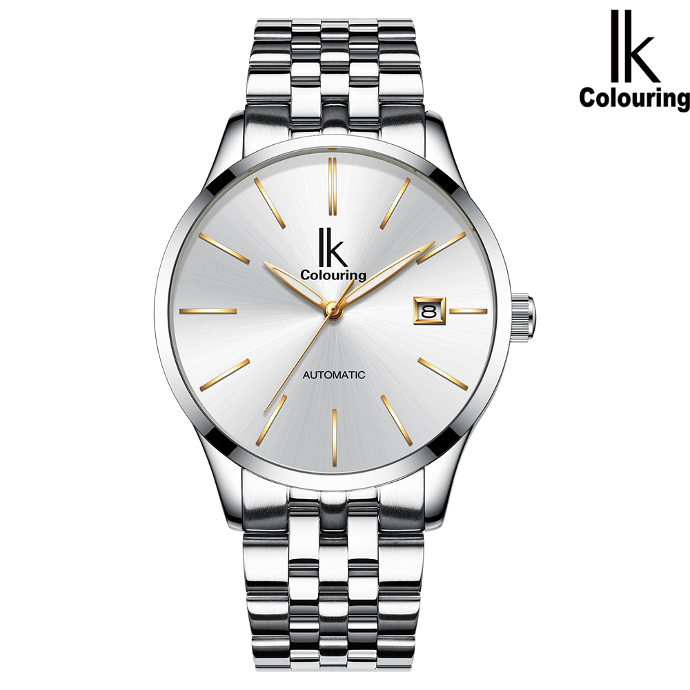 阿帕琦IK男士機械表防水超薄簡約全自動商務手表(白殼白/藍/黑面 鋼皮帶)k006