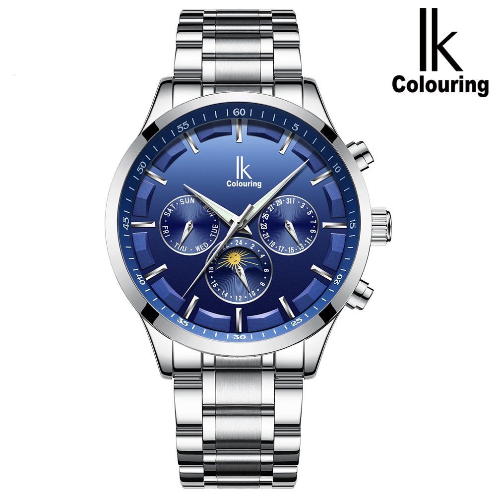 阿帕琦IK全自動機械表男表多功能潮流 防水商務男士手表(白殼藍/黑面銀釘白鋼帶)K015
