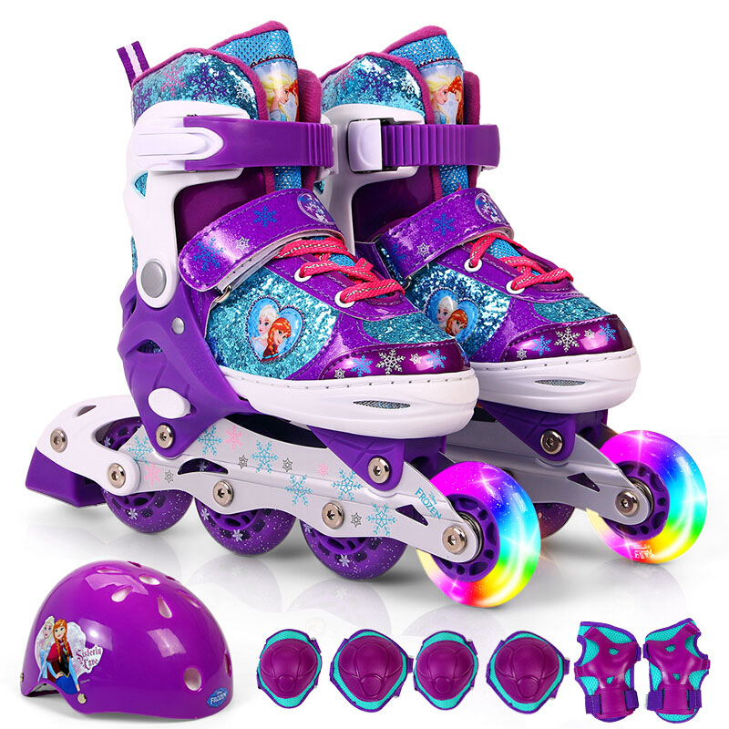 迪士尼冰雪奇缘溜冰鞋可爱儿童男女滑冰鞋 可调码旱冰鞋套装 dcy41038