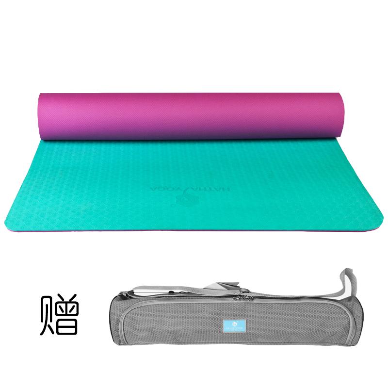 哈他专业瑜伽垫 加宽66cm环保TPE瑜珈垫?#20449;?双面防滑运动健身垫 送升级背包