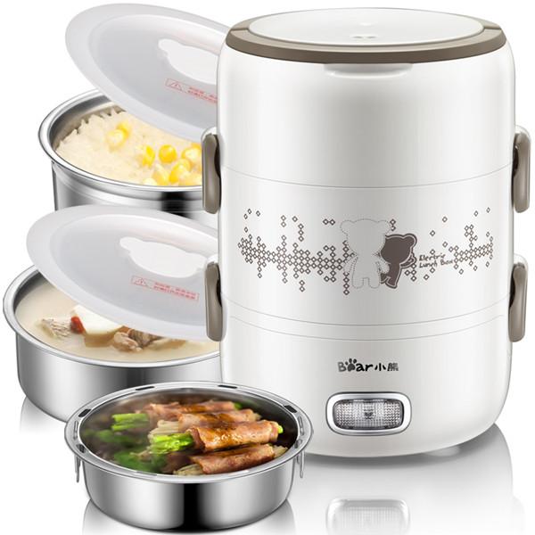 小熊(Bear) 家用三层蒸煮2L加热保温饭盒 电子饭盒电热饭盒DFH-S2358(白色)