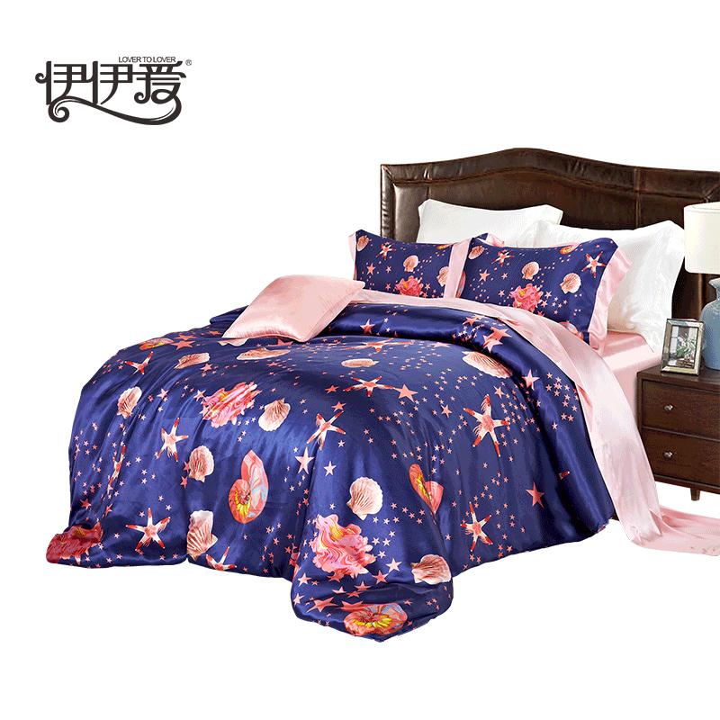 伊伊爱原创真丝四件套床上用品桑蚕丝套件 海洋之星